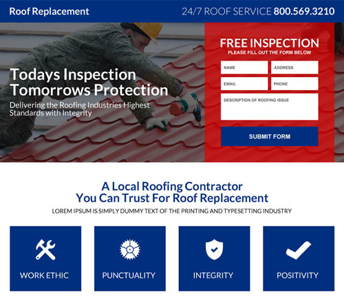 roofing leads landing pages